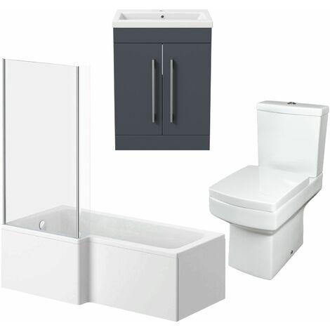 1600mm Bathroom Suite LH L Shape Bath Screen Vanity Unit Basin Toilet Modern
