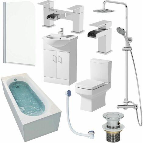 1600mm Bathroom Suite Single Ended Bath Shower Screen Vanity Basin Taps Toilet