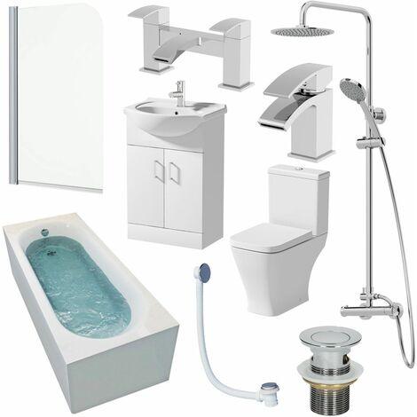 1600mm Bathroom Suite Single Ended Bath Shower Toilet Vanity Basin Taps Screen