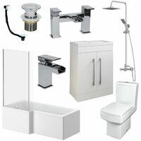 1600mm L Shape Bathroom Suite LH Bath Screen Basin Vanity Unit WC Shower Taps