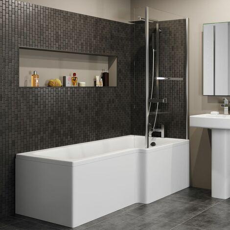 1600mm RH L Shaped Shower Bath Glass Screen Rail End Front Panel Bathroom
