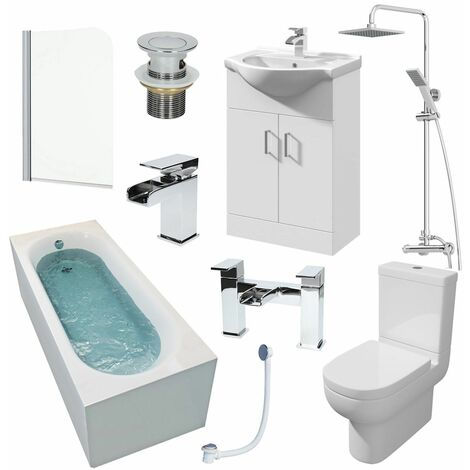 1600mm Single Ended Bathroom Suite Bath Shower Screen Basin Taps Toilet Waste