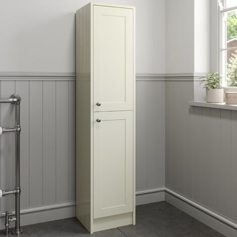 1600mm Tall Bathroom Cabinet Floorstanding Ivory Traditional