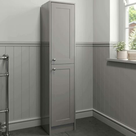 1600mm Tall Storage Cabinet Cupboard Floorstanding Grey Traditional