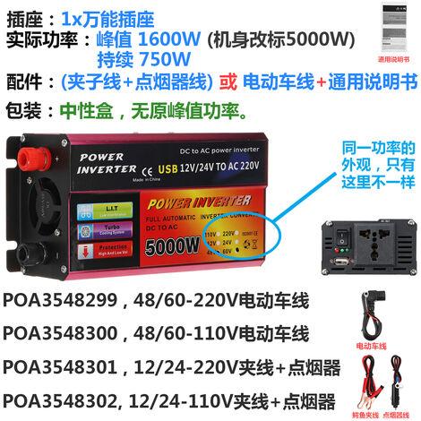 1600W 12V/24-220V AC Convertisseur de tension LED Noir