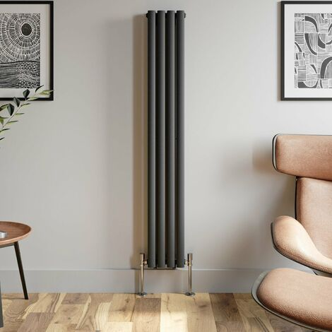 1600x240mm Anthracite Designer Radiator Vertical Oval Column Double Panel Rad