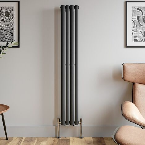 1600x240mm Anthracite Designer Radiator Vertical Oval Column Single Panel Rad