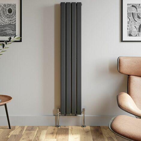 1600x304mm Anthracite Designer Radiator Vertical Flat Panel Double Panel Rad