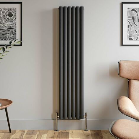 1600x360mm Anthracite Designer Radiator Vertical Oval Column Double Panel Rad