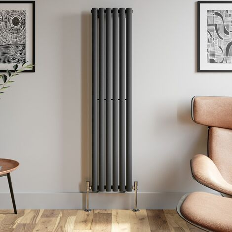 1600x360mm Anthracite Designer Radiator Vertical Oval Column Single Panel Rad