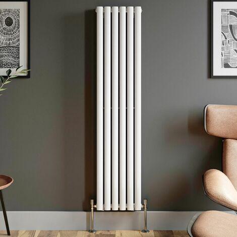 1600x360mm Designer Radiator Vertical White Oval Column Rads Double Panel