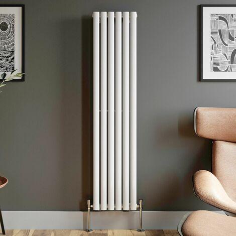 1600x360mm Designer Radiator Vertical White Oval Column Rads Single Panel