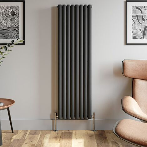 1600x480mm Anthracite Designer Radiator Vertical Oval Column Double Panel Rad