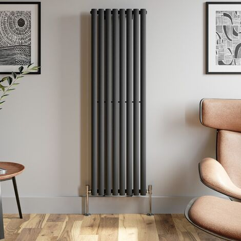 1600x480mm Anthracite Designer Radiator Vertical Oval Column Single Panel Rad