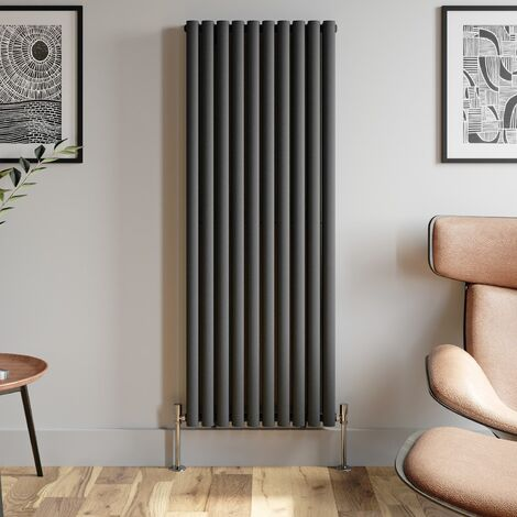 1600x600mm Anthracite Designer Radiator Vertical Oval Column Double Panel Rad
