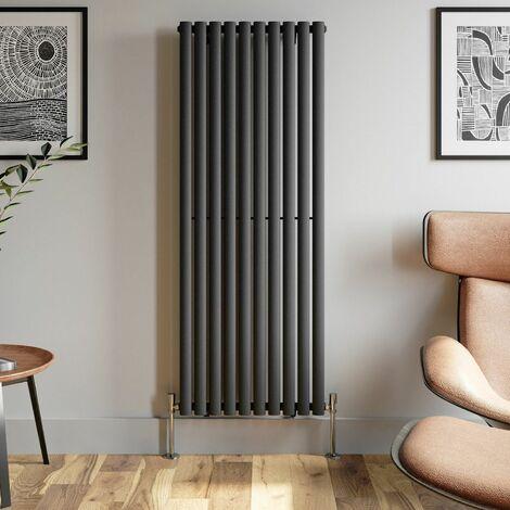 1600x600mm Anthracite Designer Radiator Vertical Oval Column Single Panel Rad