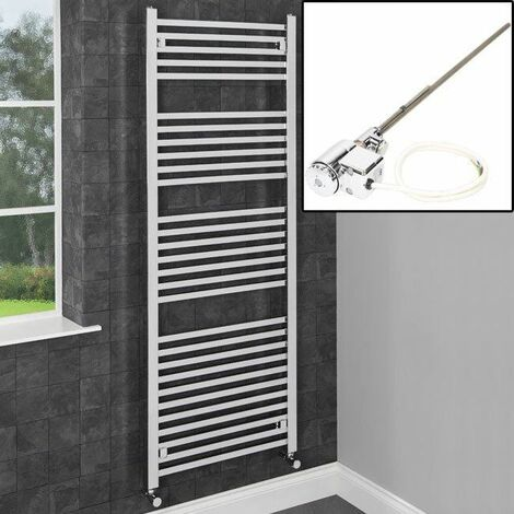 1600x600mm Bathroom Heated Towel Rail Radiator Dual Fuel Chrome Straight 29 Rail