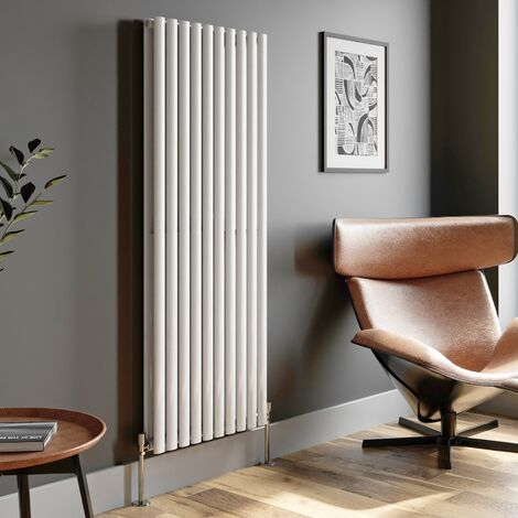 1600x600mm Designer Radiator Vertical White Oval Column Rads Double Panel