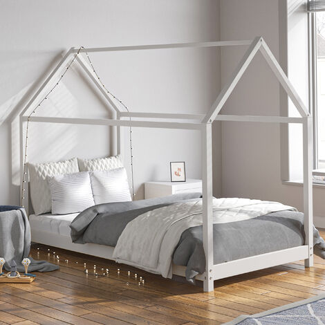 160cm Kids Children House Frame Solid Pine Wood Single Bed Toddler Bedstead