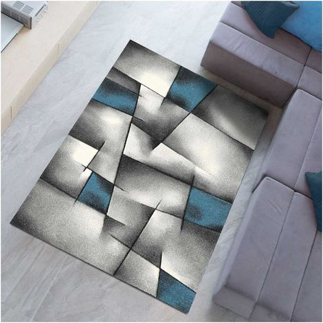 160x160 carre 160x160 - UN AMOUR DE TAPIS - Tapis Carré - Tapis Salon Moderne Design - Grand Tapis Salon Poils Ras - Tapis Chambre Turquoise - Tapis Salon Bleu Gris
