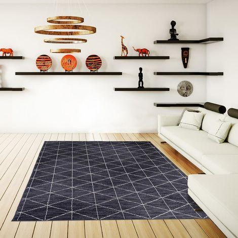 160x225 - UN AMOUR DE TAPIS - Tapis Salon Moderne Design Scandinave Géométrique - Grand Tapis Salon Berbere Ethnique - Tapis Gris