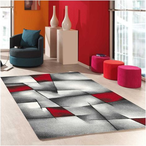 160x230 - UN AMOUR DE TAPIS - Tapis Salon Moderne Design Poils Ras - Grand Tapis Salon Rectangulaire - Tapis Chambre Turquoise - Tapis Salon Rouge Gris