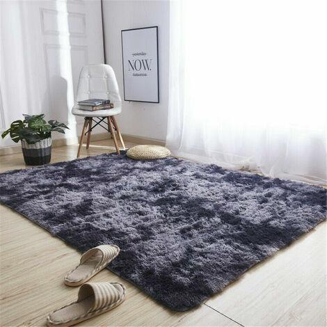 160x230cm Tapis de sol Tapis moelleux doux shaggy salon chambre gris foncé 160x230 cm
