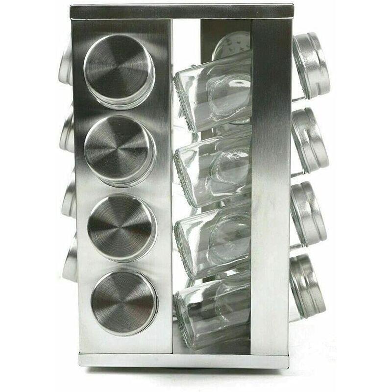 16,5 x 16,5 x 24,5 cm - En acier inoxydable - Support à épices rotatif pour cuisine - Surface lisse - Avec 16 pots