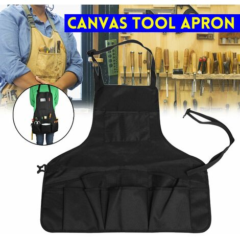 1680D Double Oxford Black Heavy Duty Canvas Work Apron Multi Pockets Waterproof Tool Apron Multifunction Woodworking Apron Workshop Apron