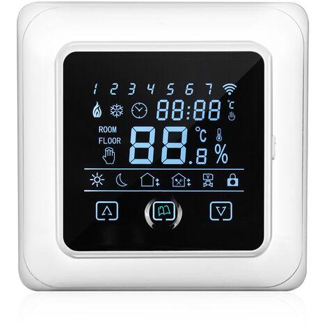 16A hogar termostato programable con WIFI Calefaccion electrica con pantalla LCD tactil de pantalla inteligente de suelo radiante Caldera, Blanco y Negro