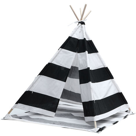 1.6M Large Kids Tent Teepee Wooden Playhouse White Black Stripe