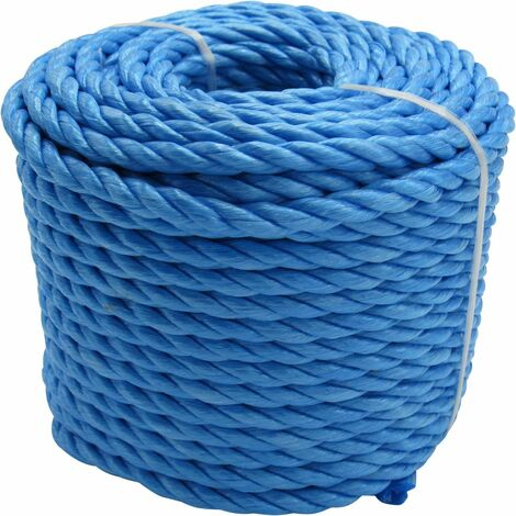 16MM x 220M Blue 3 Strand Polypropylene Rope Coil - Shipping Camping Fender Yacht