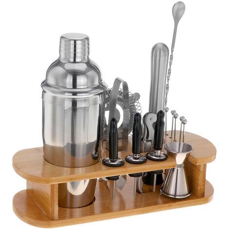 16Pcs 750ml Stainless Bar Cocktail Shaker Set Barware Set Shaker Set with Wooden Rack For Bartender Drink Party Bar Tool