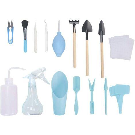16PCS Blue Succulent Transplant Tool Kit Set of Gardening Tools Mini Garden Kit Succulent Transplant Tools For Maintenance of Indoor Garden Plants