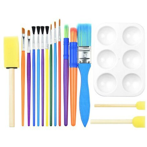"""main image of """"16PCS Children Paintbrushes Washable Paint Brushes Sponge Painting Brush Set for Toddler Kids Early DIY Learning Toys Finger Paints sponges Art Supplies Gifts for Acrylic Crafts Rock Tempera Paints,model:Multicolor"""""""