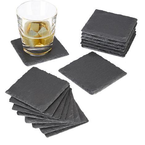 16x Getränkeuntersetzer Schiefer im Set, quadratisch 10x10 cm, pflegeleichte Untersetzer, für Gläser, grau
