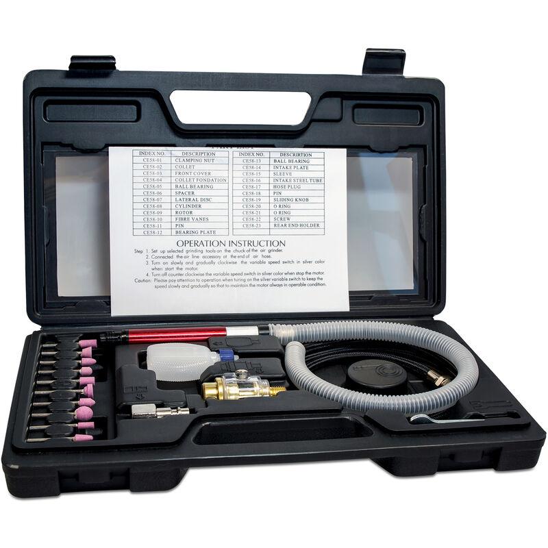 Micro Druckluftschleifer Set Mini Stabschleifer Geradeschleifer 2 Spannzangen
