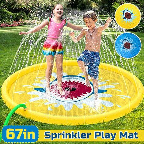"170 cm / 67 "" enfants gonflable Splash Water Mat Sprinkler Pad pataugeoire tapis de jeu jouet jaune Jaune requin b"