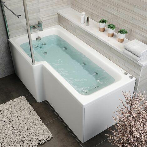 1700 L Shape LH Whirlpool Bath 10 Jets LED Lighting Screen Side End Panel White