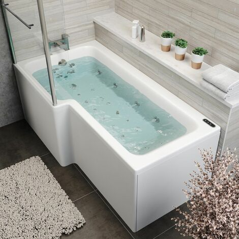 1700 L Shape LH Whirlpool Bath 34 Jets LEDs Ozonator Screen Side End Panel White