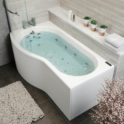 1700 P Shape LH Whirlpool Bath 34 Jets LEDs Ozonator Screen Side End Panel White