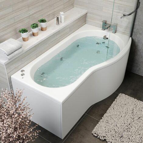 1700 P Shape RH Whirlpool Bath 10 Jets LED Lighting Screen Side End Panel White