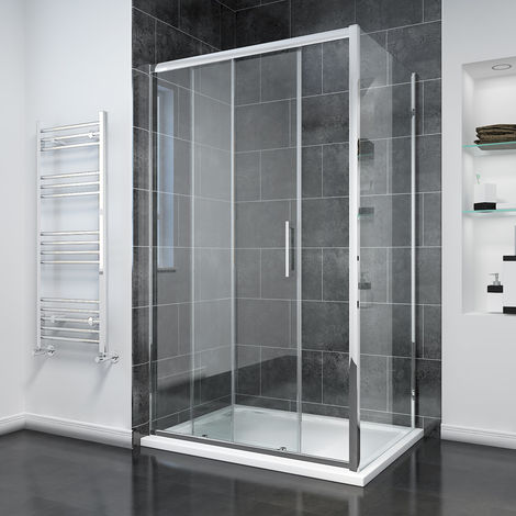 1700 x 700mm Sliding Shower Enclosure 8mm Easy Clean Glass Shower Cubicle with Shower Tray + Side Panel