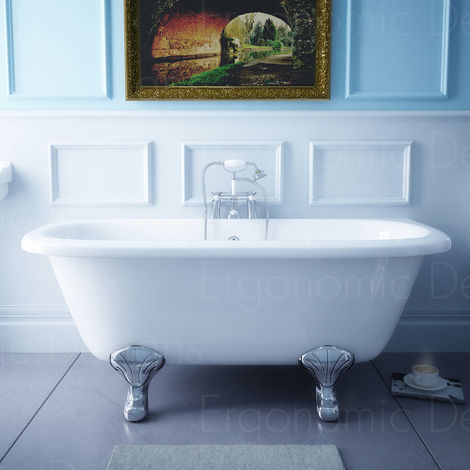 1700 X 745 Back To Wall Traditional Freestanding Roll Top Double Ended Bath