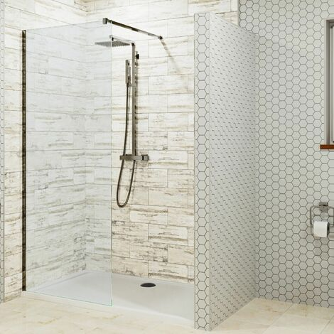 1700 x 900mm Walk In Shower Enclosure 900mm Wet Room Screen 8mm Glass Tray Waste