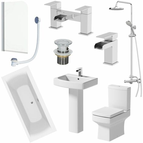 1700mm Bathroom Suite Double Ended Bath Shower Toilet Basin Pedestal Taps Screen