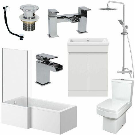 1700mm Bathroom Suite LH L Shape Bath Shower Screen Vanity Basin Taps Toilet
