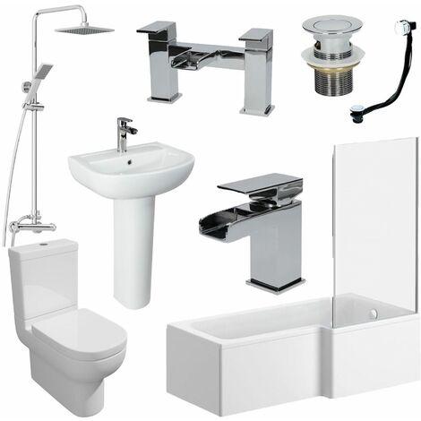 1700mm Bathroom Suite RH L Shaped Bath Screen Basin Toilet Shower Taps Waste