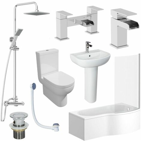 1700mm Bathroom Suite RH P Shaped Bath Screen Basin Toilet Shower Taps Waste