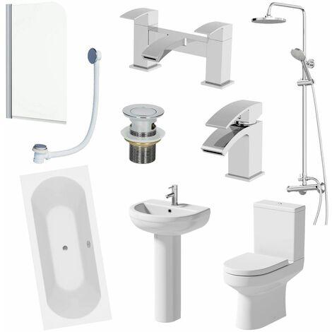 1700mm Bathroom Suite Shower Double Ended Bath Screen Toilet Basin Pedestal Taps